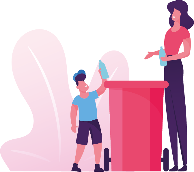 Woman and child putting rubbish in bin
