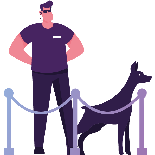 security guard with dog and velvet rope